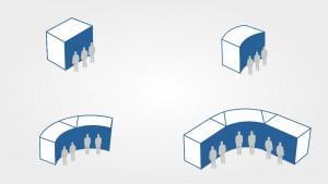 Einzelne Segmente der Videowall