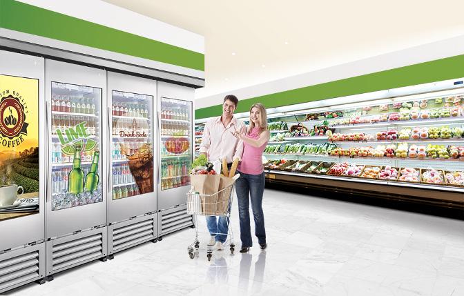 Transparenter Digital Signage Kühlschrank